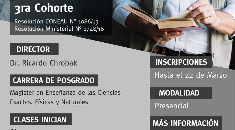 Inscriben para la 3° cohorte de la Maestría en Enseñanza de las Ciencias Exactas y Naturales