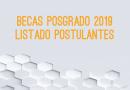 Lista de postulantes Becas Posgrado 2019